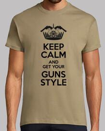 Keep Calm, Guns Style, Hombre, manga corta, caqui, calidad extra