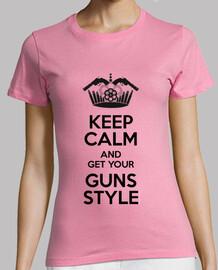 Keep Calm, Guns Style Mujer, manga corta, rosa, calidad premium
