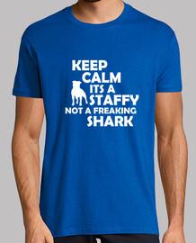 keep calm its a staffy not a freaking shark