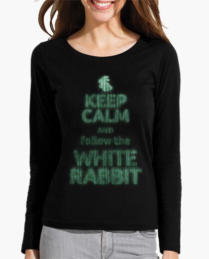 Tee-shirt keep calm lapin blanc (fille manches longues)