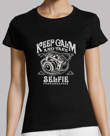 Keep Calm Take Selfie   Mujer, manga corta, negra, calidad premium
