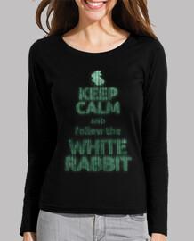 Keep calm white rabbit (chica manga larga)