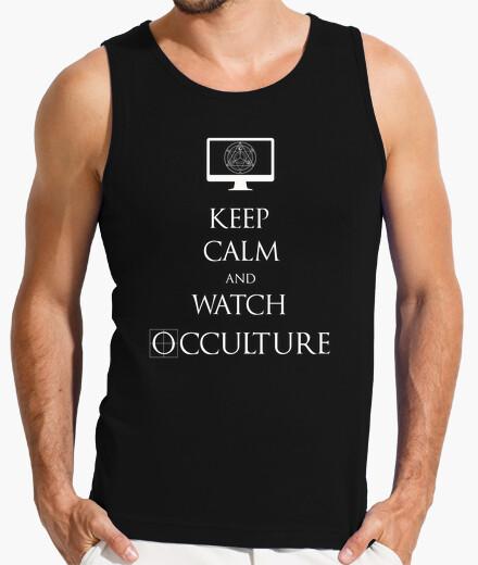 Keep calm white tank top man t-shirt
