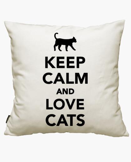 Housse de coussin keep le and calm and les chats aiment