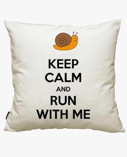 Housse de coussin keep le and run calm and run avec moi
