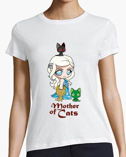 Camiseta Khatleesi Madre de gatos Mujer, manga corta