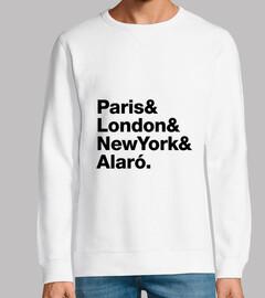 Kids Paris, London, NY, Alaro - Sweatshirt, Hombre, manga larga, blanca, calidad premium
