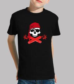 kids t-shirt - jolly roger pirate dynamite