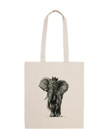 king elefante - borsa in cotone 100%