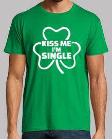 kiss me i'm single shamrock