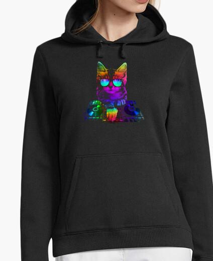 Hoodie Kitty DJ auf der Mischung