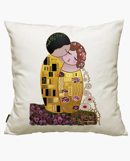 Funda cojín Kokeshi El Beso estilo Klimt