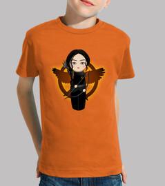 Kokeshi Katniss con sinsajo