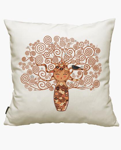 Housse de coussin kokeshi l'arbre de klimt style de vie