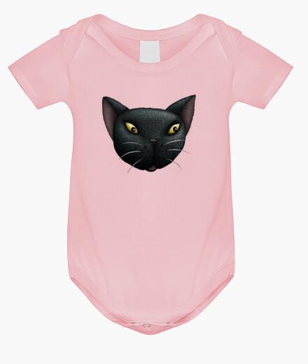Ropa infantil la cara del gato negro del bebé