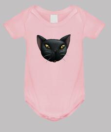 la cara del gato negro del bebé