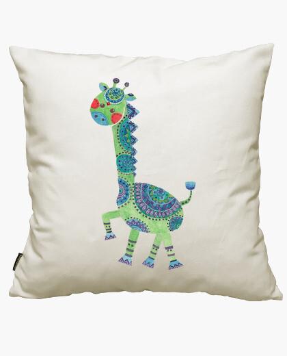 Housse de coussin la girafe verte