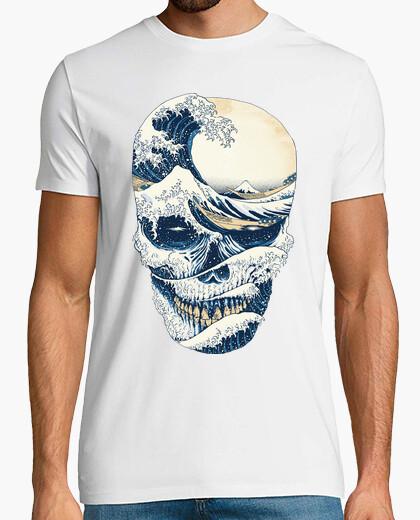 T-shirt la grande ondata di teschio