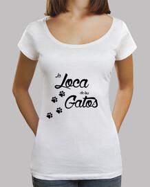 la loca de los gatos Mujer, cuello ancho & Loose Fit, blanca