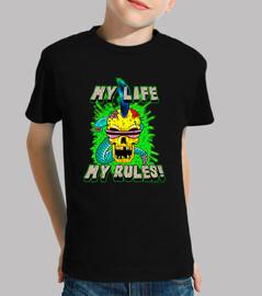 la mia vita, le mie regole! - bambino, maniche corte, nera