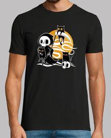 la muerte con guadaña y gatos negros