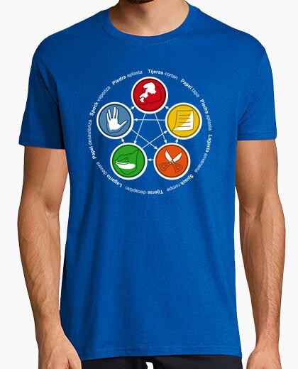 Tee-shirt la théorie du big bang . roche, papier, ciseaux, lézard, spock