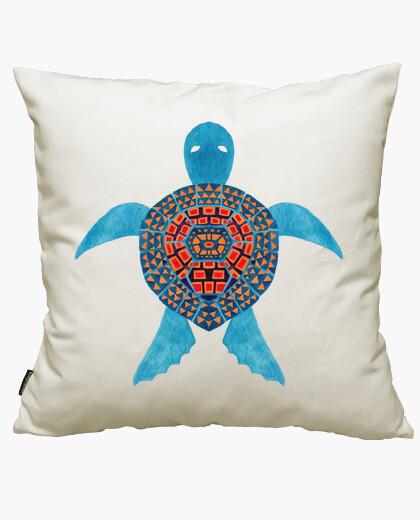 Housse de coussin la tortue de mer tribale bleue