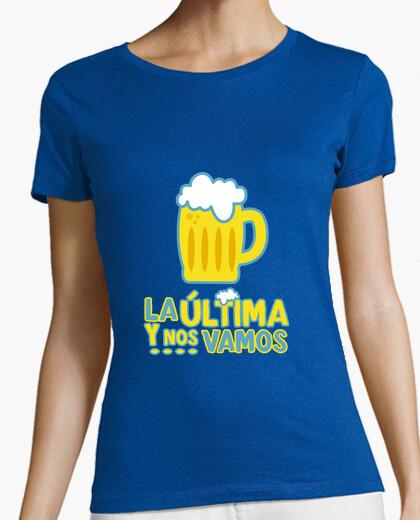Camiseta La última y ....! Mujer, manga corta, azul royal, calidad premium