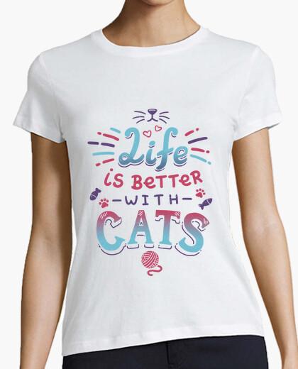 Tee-shirt la vie est meilleure avec les chats