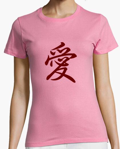 Tee-shirt l'amour en japonais et en chinois (rouge)