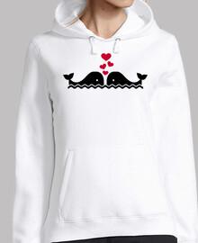 las ballenas aman los corazones rojos