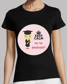 laurea keep calm - donna, manica corta, nero, qualità premium