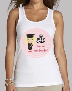 laurea keep calm - senza maniche, bianca