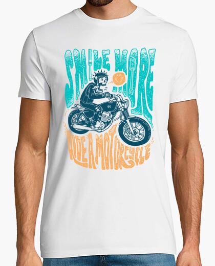 T-Shirt lächle mehr motorrad fahren