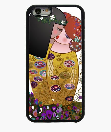 Cover iPhone 6 / 6S le kokeshi lesbiche bacio stile klimt