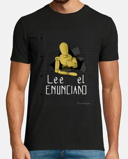 Lee el enunciado 1 para camiseta oscura, hombre