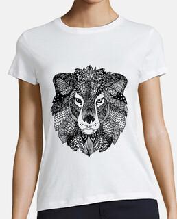 Leon Zentangle camiseta mujer