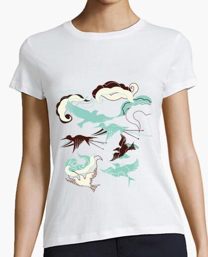 Tee-shirt les oiseaux turquoise