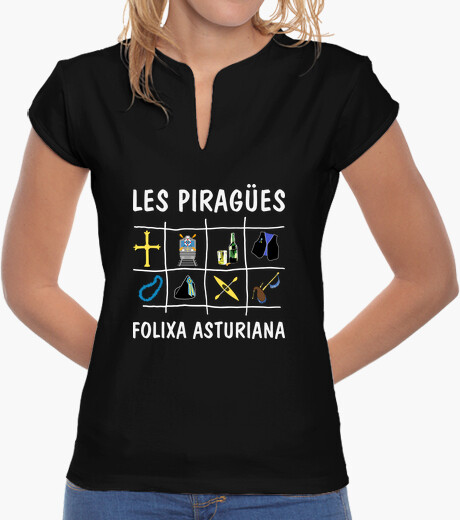 Les Piragües fondo oscuro - Camiseta de chica estilo chino