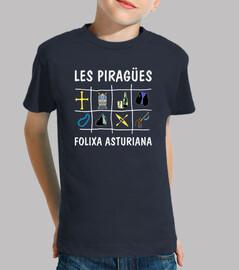 Les Piragües fondo oscuro - Camiseta para niño de manga corta