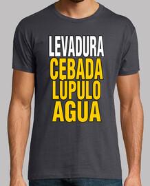 Levadura cebada lúpulo agua - cerveza - camiseta chico