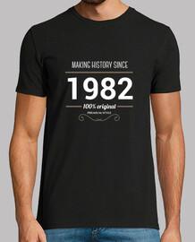 l'historique de fabrication 1982 white texte