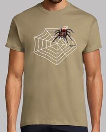 l'homme chemise rouge araignée
