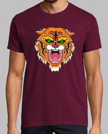 l'homme, manches courtes, tigre
