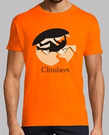 l'homme sur le toit de grimpeurs, manches courtes, orange, qualité extra