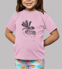 libellule, Tee shirt enfant, manche courte, rose