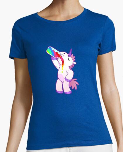 Tee-shirt licorne. femmes, manches courtes, ciel bleu, qualité premium