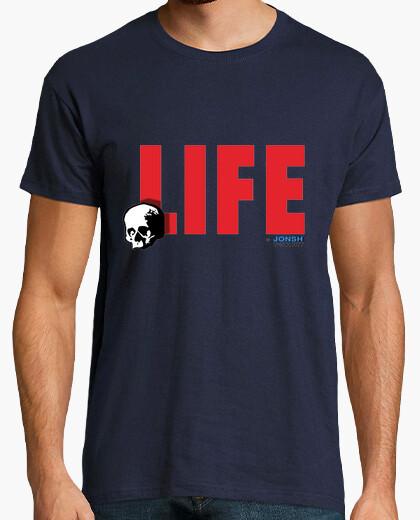 Camiseta LIFE for ever,Hombre, manga corta, azul marino, calidad extra