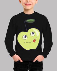 Linda manzana sonriente de dibujos anim