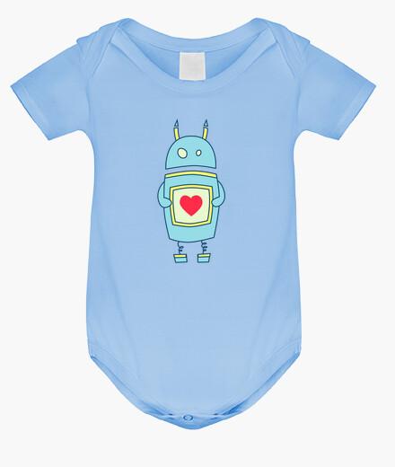 Ropa infantil lindo corazón sosteniendo robot de dibu